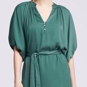 Banana Republic Split Neck Tie-Waist Green Dress